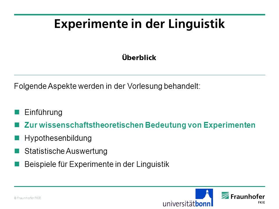 © Fraunhofer FKIE Überblick Folgende Aspekte werden in der Vorlesung behandelt: Einführung Zur wissenschaftstheoretischen Bedeutung von Experimenten H