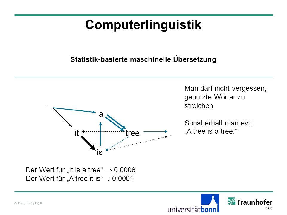 © Fraunhofer FKIE Computerlinguistik. a it tree. is Der Wert für It is a tree 0.0008 Der Wert für A tree it is 0.0001 Statistik-basierte maschinelle Ü