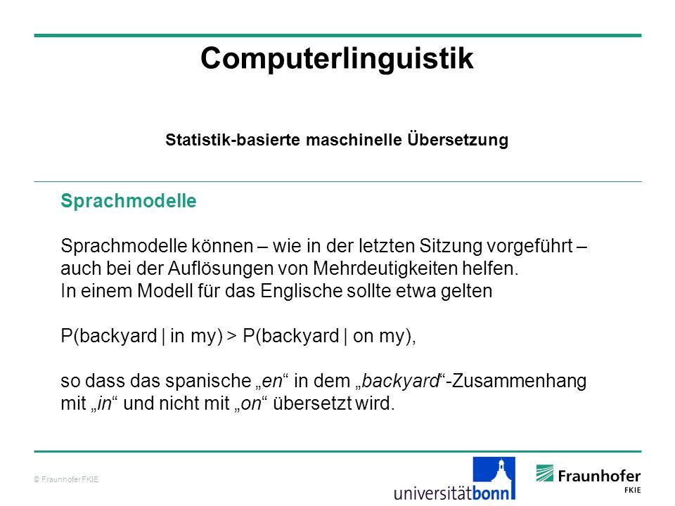 © Fraunhofer FKIE Computerlinguistik Sprachmodelle Sprachmodelle können – wie in der letzten Sitzung vorgeführt – auch bei der Auflösungen von Mehrdeutigkeiten helfen.