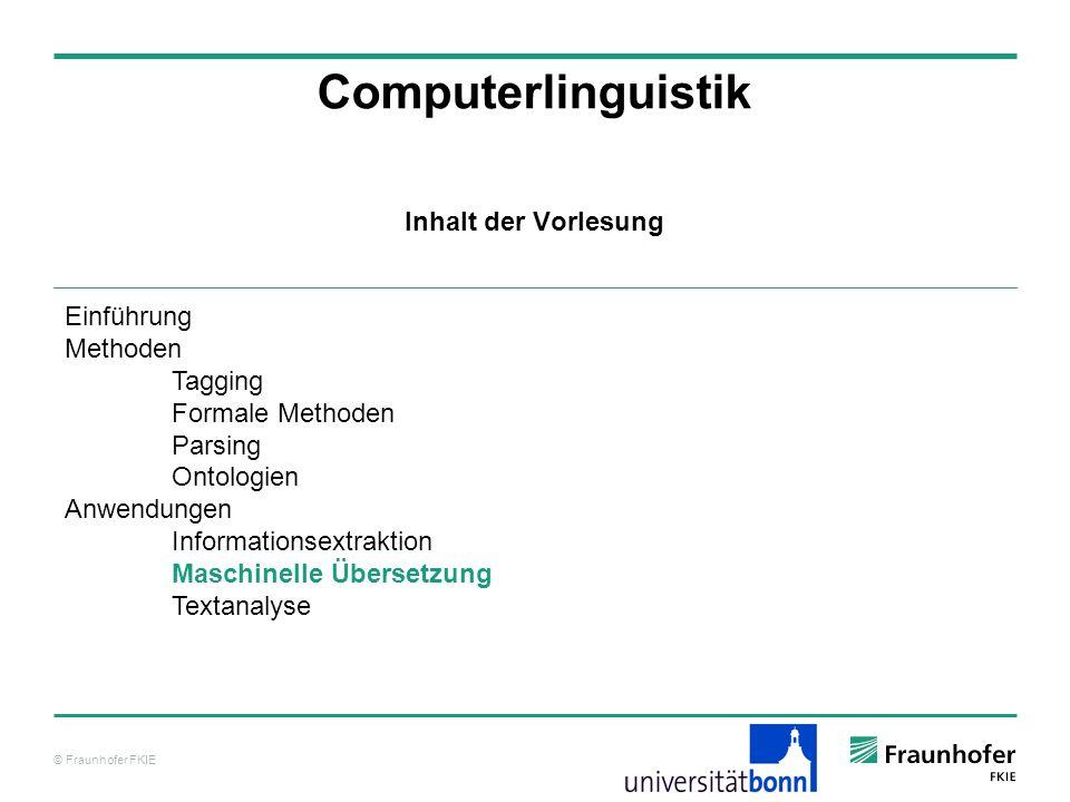 © Fraunhofer FKIE Computerlinguistik Inhalt der Vorlesung Einführung Methoden Tagging Formale Methoden Parsing Ontologien Anwendungen Informationsextraktion Maschinelle Übersetzung Textanalyse