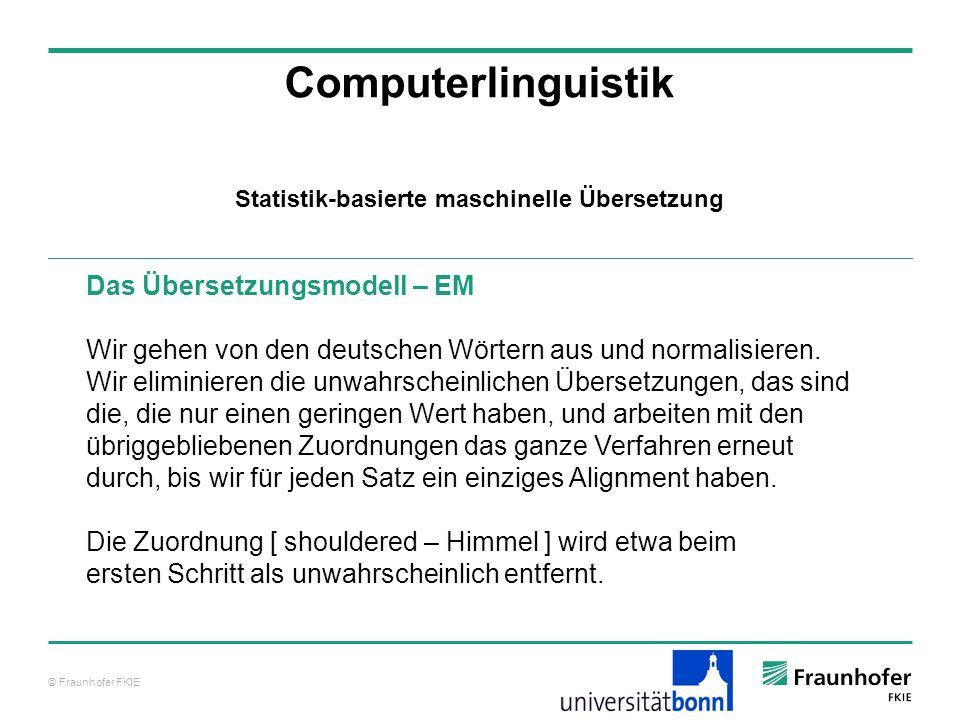 © Fraunhofer FKIE Computerlinguistik Das Übersetzungsmodell – EM Wir gehen von den deutschen Wörtern aus und normalisieren.