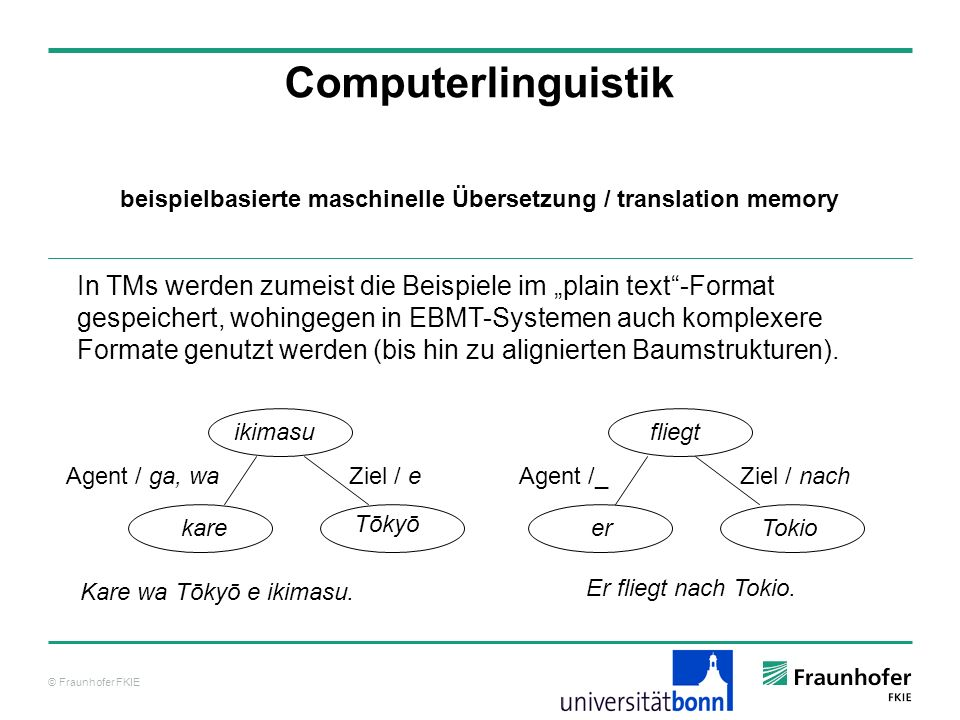 © Fraunhofer FKIE Computerlinguistik In TMs werden zumeist die Beispiele im plain text-Format gespeichert, wohingegen in EBMT-Systemen auch komplexere Formate genutzt werden (bis hin zu alignierten Baumstrukturen).