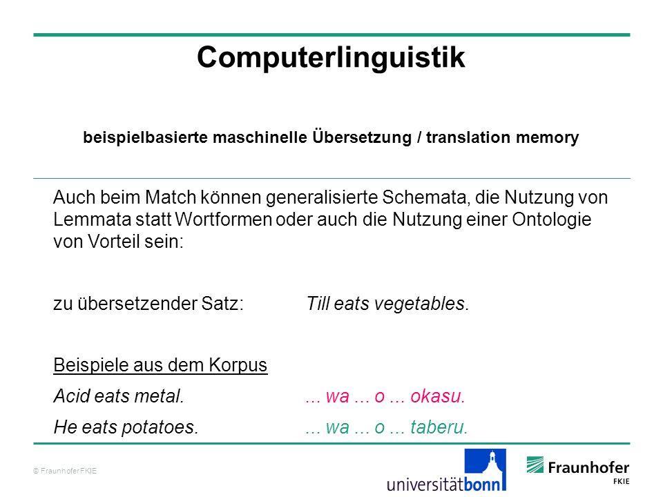 © Fraunhofer FKIE Computerlinguistik Auch beim Match können generalisierte Schemata, die Nutzung von Lemmata statt Wortformen oder auch die Nutzung einer Ontologie von Vorteil sein: zu übersetzender Satz: Till eats vegetables.