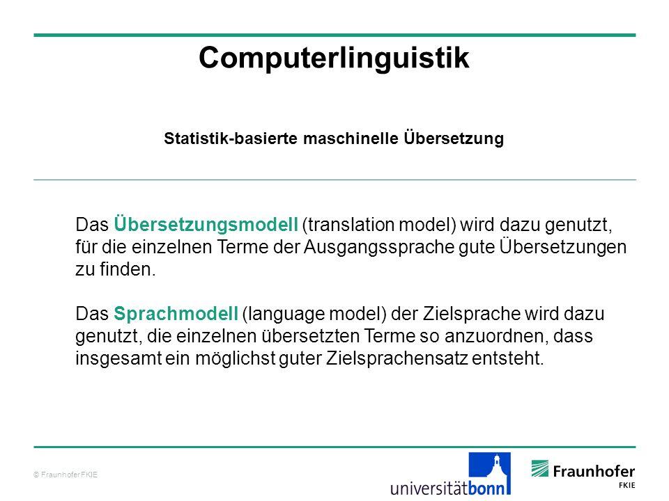 © Fraunhofer FKIE Computerlinguistik Statistik-basierte maschinelle Übersetzung Das Übersetzungsmodell (translation model) wird dazu genutzt, für die einzelnen Terme der Ausgangssprache gute Übersetzungen zu finden.