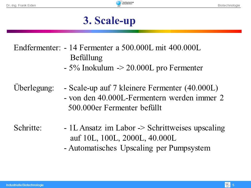 Dr.-Ing. Frank Eiden Biotechnologie Industrielle Biotechnologie: 5 3. Scale-up Endfermenter:- 14 Fermenter a 500.000L mit 400.000L Befüllung - 5% Inok