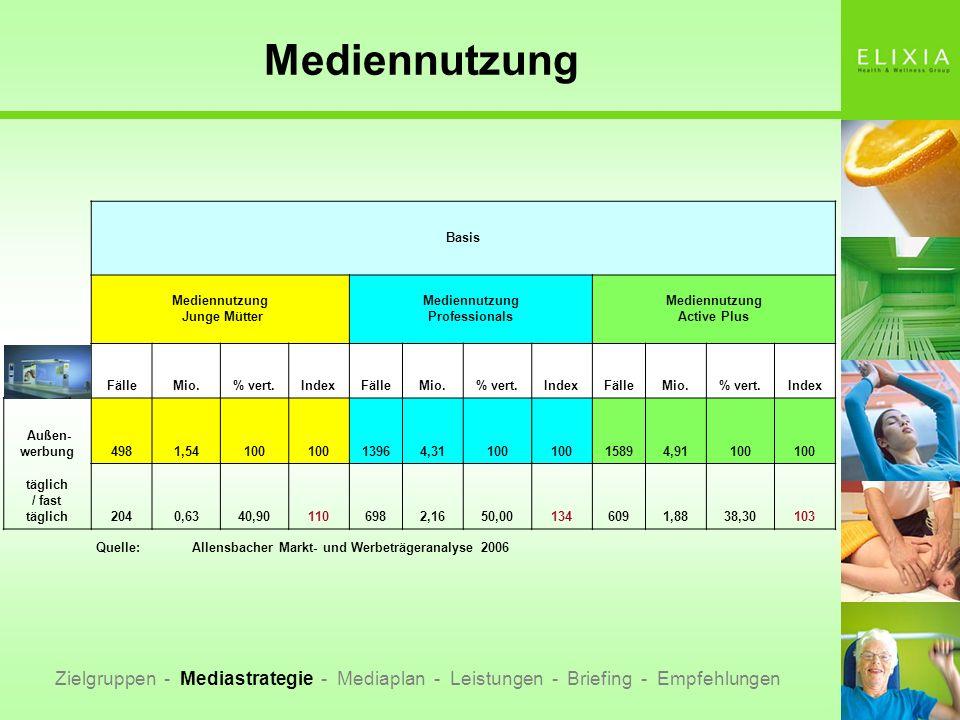 Mediennutzung Zielgruppen - Mediastrategie - Mediaplan - Leistungen - Briefing - Empfehlungen Basis Mediennutzung Junge Mütter Mediennutzung Professio