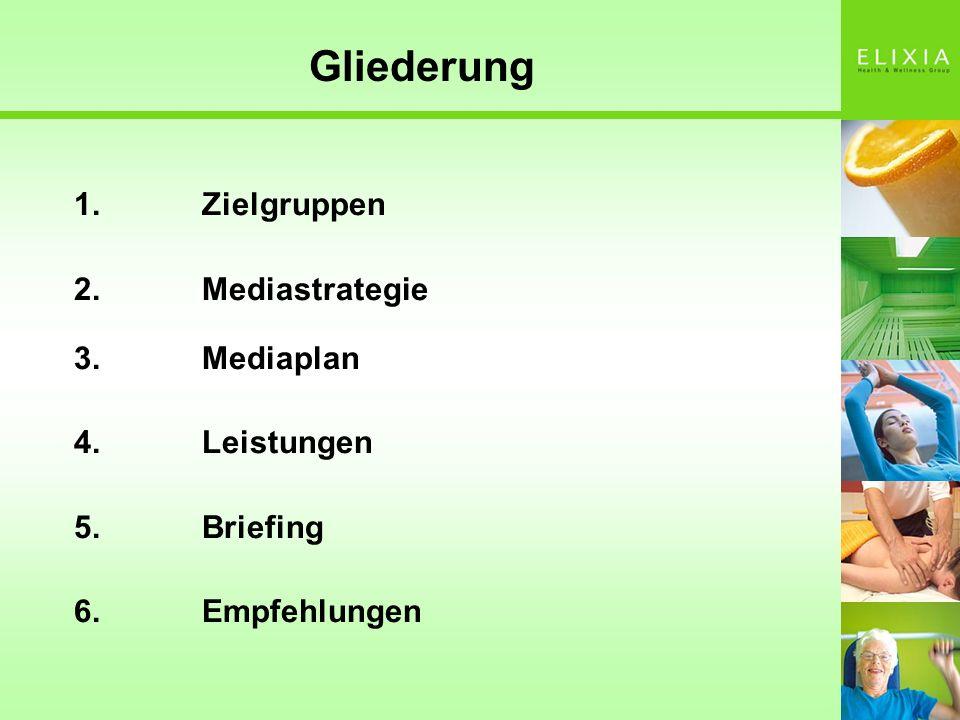 Gliederung 1.Zielgruppen 2.Mediastrategie 3.Mediaplan 4.Leistungen 5.Briefing 6. Empfehlungen