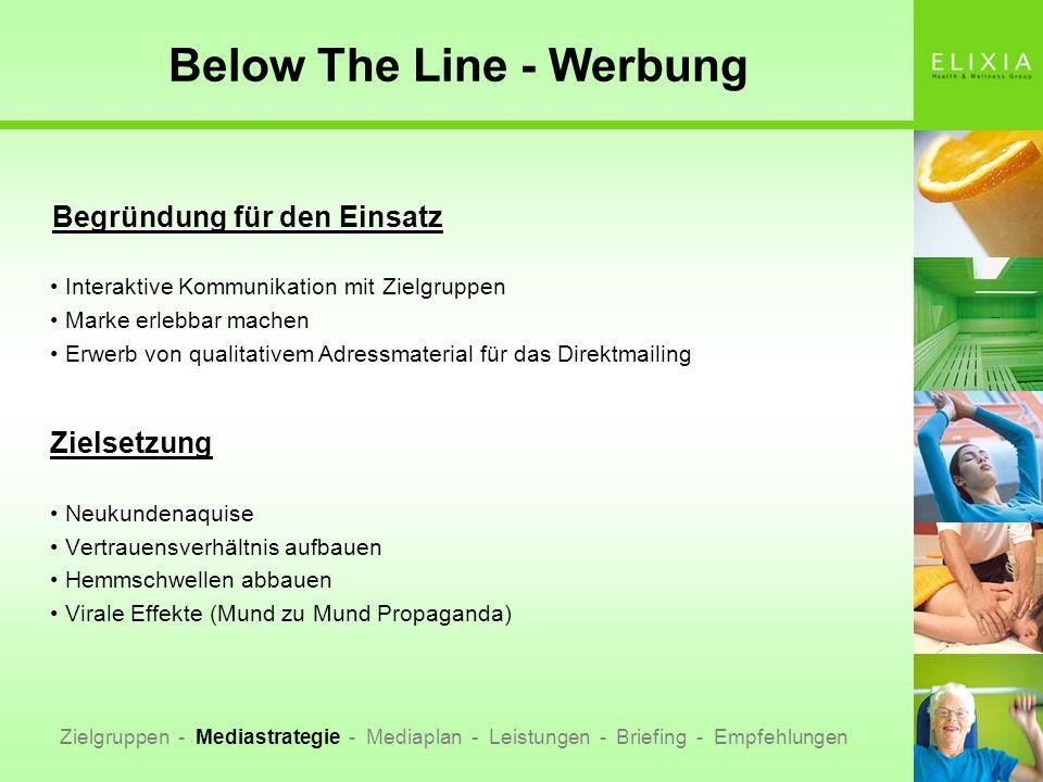 Below The Line - Werbung Begründung für den Einsatz Interaktive Kommunikation mit Zielgruppen Marke erlebbar machen Erwerb von qualitativem Adressmate