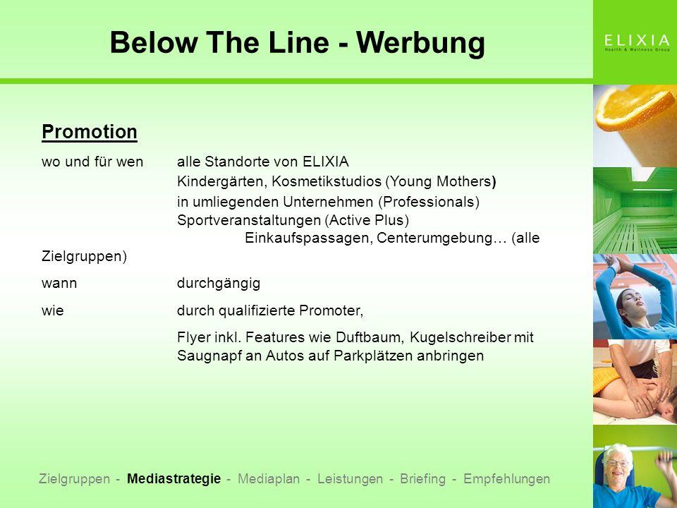 Below The Line - Werbung Zielgruppen - Mediastrategie - Mediaplan - Leistungen - Briefing - Empfehlungen Promotion wo und für wenalle Standorte von EL