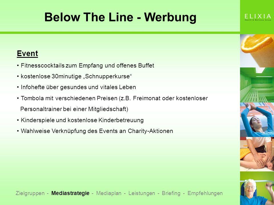 Below The Line - Werbung Zielgruppen - Mediastrategie - Mediaplan - Leistungen - Briefing - Empfehlungen Event Fitnesscocktails zum Empfang und offene