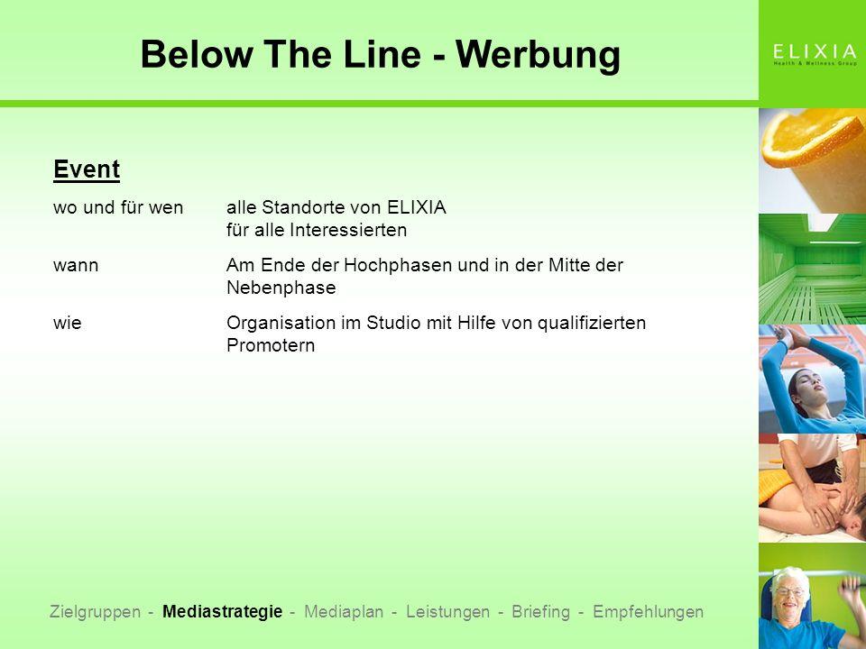 Below The Line - Werbung Zielgruppen - Mediastrategie - Mediaplan - Leistungen - Briefing - Empfehlungen Event wo und für wenalle Standorte von ELIXIA