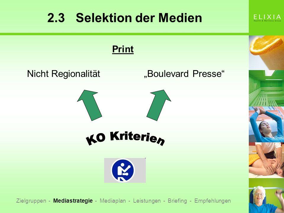 2.3Selektion der Medien Nicht RegionalitätBoulevard Presse Print Zielgruppen - Mediastrategie - Mediaplan - Leistungen - Briefing - Empfehlungen