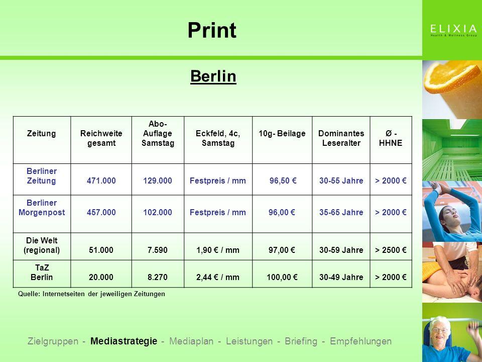 Print Berlin Zielgruppen - Mediastrategie - Mediaplan - Leistungen - Briefing - Empfehlungen ZeitungReichweite gesamt Abo- Auflage Samstag Eckfeld, 4c