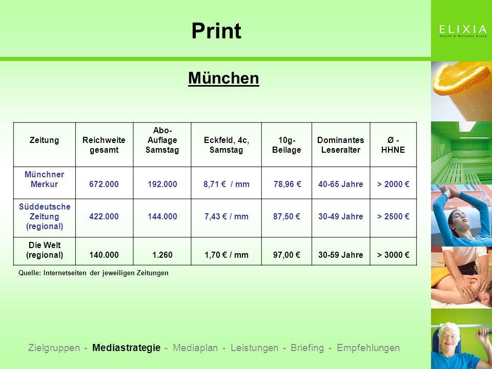 Print München Zielgruppen - Mediastrategie - Mediaplan - Leistungen - Briefing - Empfehlungen ZeitungReichweite gesamt Abo- Auflage Samstag Eckfeld, 4