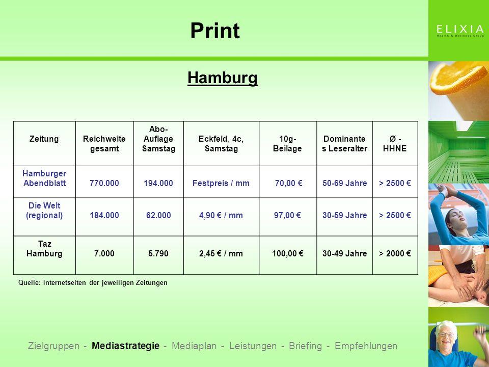 Print Hamburg Zielgruppen - Mediastrategie - Mediaplan - Leistungen - Briefing - Empfehlungen ZeitungReichweite gesamt Abo- Auflage Samstag Eckfeld, 4