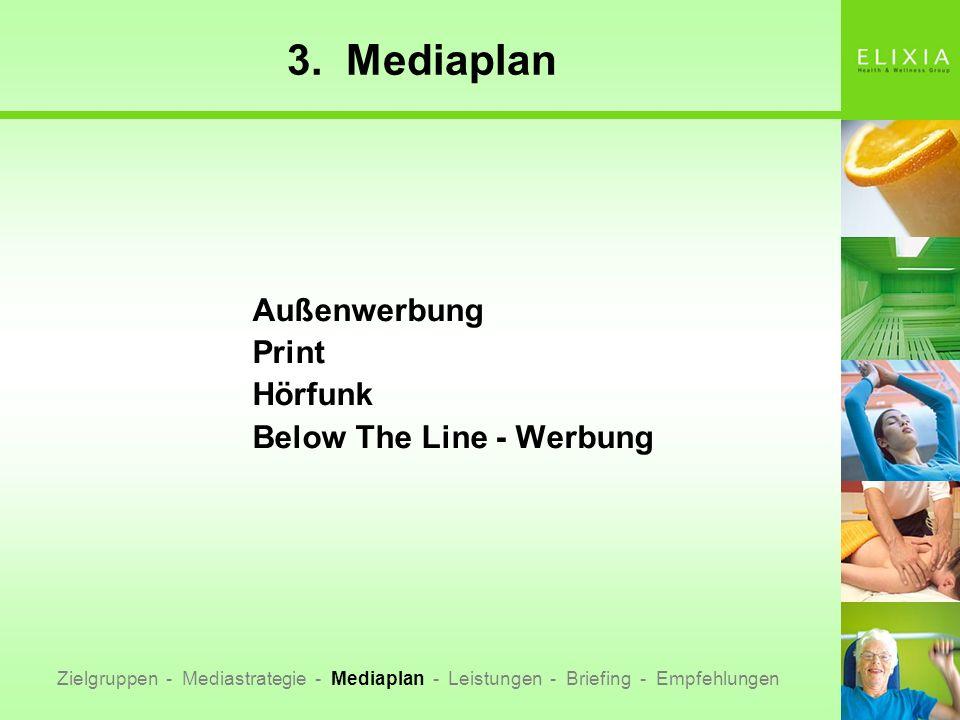3. Mediaplan Außenwerbung Print Hörfunk Below The Line - Werbung Zielgruppen - Mediastrategie - Mediaplan - Leistungen - Briefing - Empfehlungen