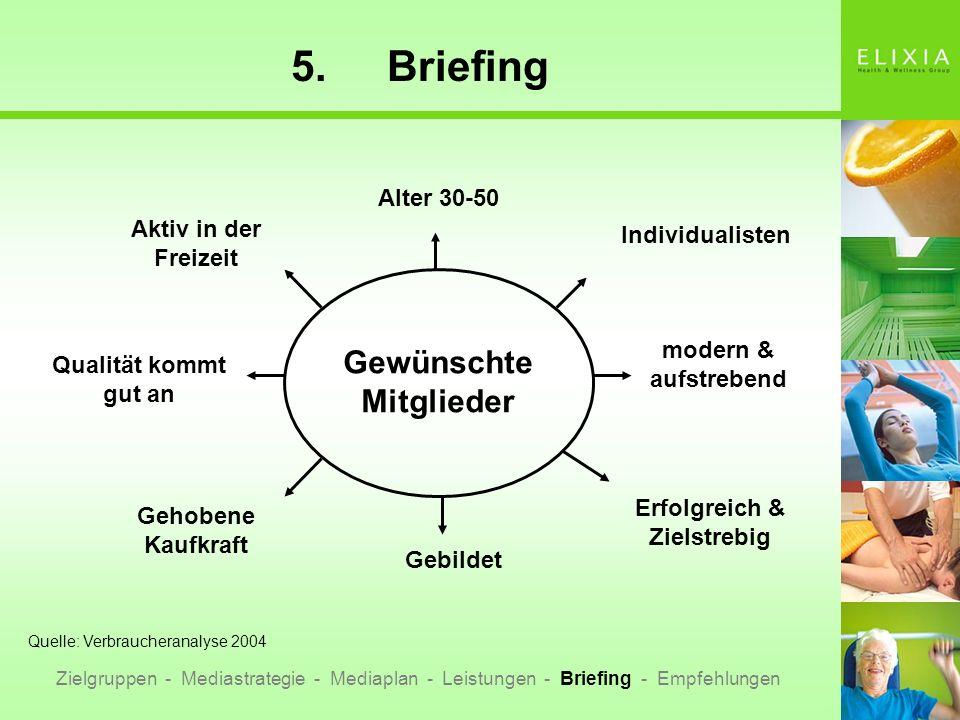 5.Briefing Zielgruppen - Mediastrategie - Mediaplan - Leistungen - Briefing - Empfehlungen Gewünschte Mitglieder Aktiv in der Freizeit Alter 30-50 Ind