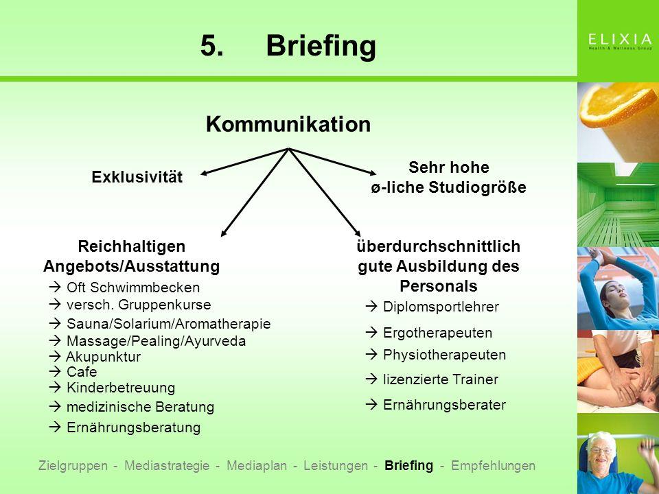 5.Briefing Zielgruppen - Mediastrategie - Mediaplan - Leistungen - Briefing - Empfehlungen Kommunikation Exklusivität überdurchschnittlich gute Ausbil