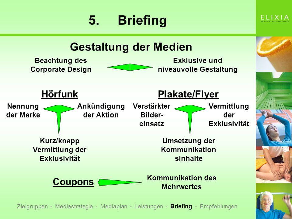 5.Briefing Zielgruppen - Mediastrategie - Mediaplan - Leistungen - Briefing - Empfehlungen Gestaltung der Medien Hörfunk Nennung der Marke Ankündigung