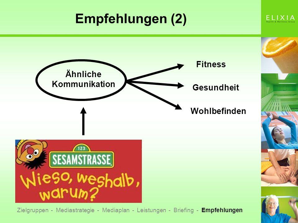 Empfehlungen (2) Ähnliche Kommunikation Fitness Gesundheit Wohlbefinden Zielgruppen - Mediastrategie - Mediaplan - Leistungen - Briefing - Empfehlunge
