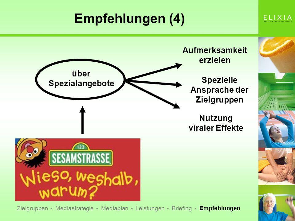 Empfehlungen (4) über Spezialangebote Aufmerksamkeit erzielen Spezielle Ansprache der Zielgruppen Nutzung viraler Effekte Zielgruppen - Mediastrategie