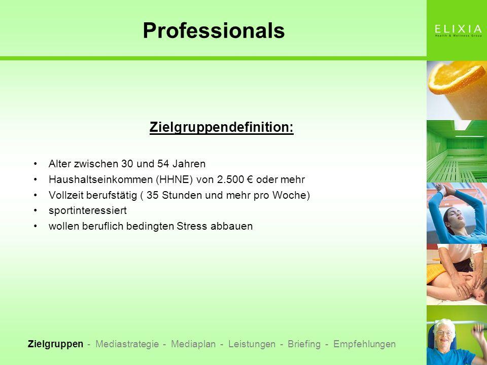 Professionals Zielgruppendefinition: Alter zwischen 30 und 54 Jahren Haushaltseinkommen (HHNE) von 2.500 oder mehr Vollzeit berufstätig ( 35 Stunden u