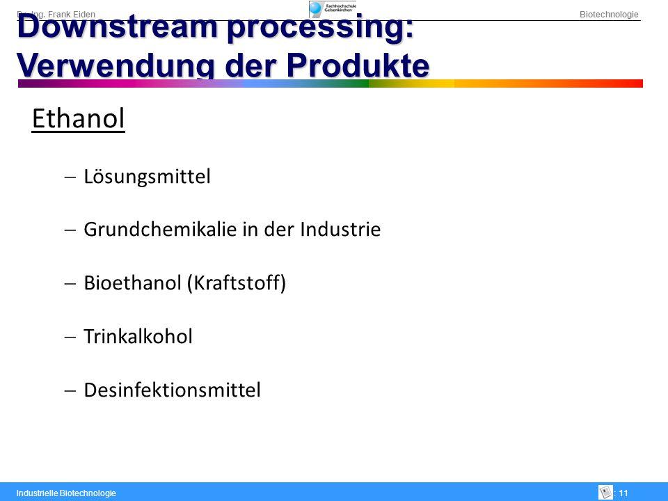 Dr.-Ing. Frank Eiden Biotechnologie Industrielle Biotechnologie: 11 Downstream processing: Verwendung der Produkte Ethanol Lösungsmittel Grundchemikal