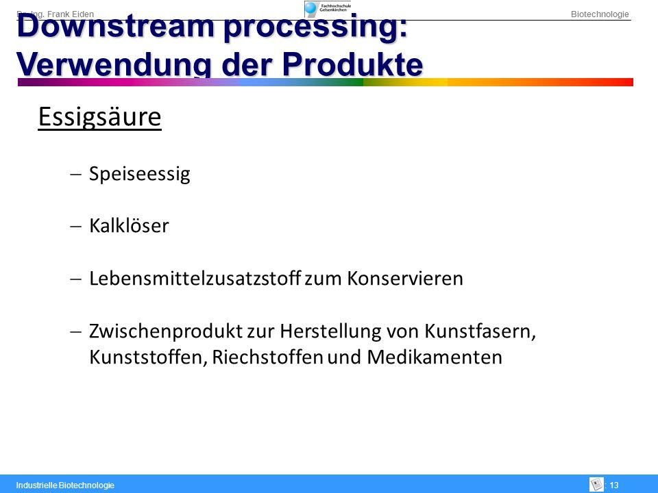 Dr.-Ing. Frank Eiden Biotechnologie Industrielle Biotechnologie: 13 Downstream processing: Verwendung der Produkte Essigsäure Speiseessig Kalklöser Le