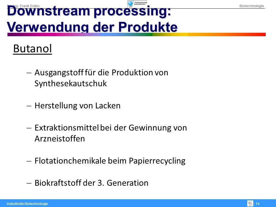 Dr.-Ing. Frank Eiden Biotechnologie Industrielle Biotechnologie: 14 Downstream processing: Verwendung der Produkte Butanol Ausgangstoff für die Produk