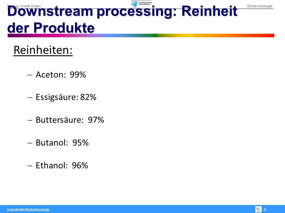Dr.-Ing. Frank Eiden Biotechnologie Industrielle Biotechnologie: 9 Downstream processing: Reinheit der Produkte Reinheiten: Aceton: 99% Essigsäure: 82