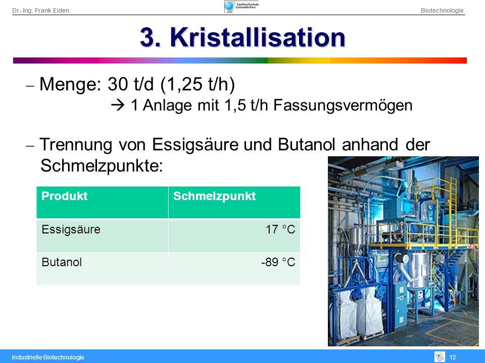 Dr.-Ing. Frank Eiden Biotechnologie Industrielle Biotechnologie: 12 3. Kristallisation Menge: 30 t/d (1,25 t/h) 1 Anlage mit 1,5 t/h Fassungsvermögen