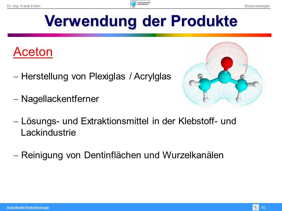Dr.-Ing. Frank Eiden Biotechnologie Industrielle Biotechnologie: 15 Verwendung der Produkte Aceton Herstellung von Plexiglas / Acrylglas Nagellackentf