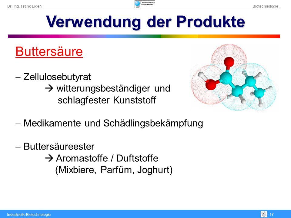 Dr.-Ing. Frank Eiden Biotechnologie Industrielle Biotechnologie: 17 Verwendung der Produkte Buttersäure Zellulosebutyrat witterungsbeständiger und sch