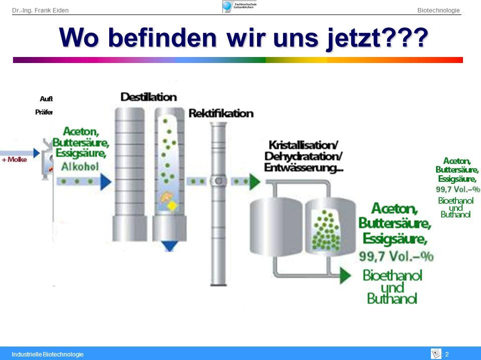 Dr.-Ing. Frank Eiden Biotechnologie Industrielle Biotechnologie: 2 Wo befinden wir uns jetzt???