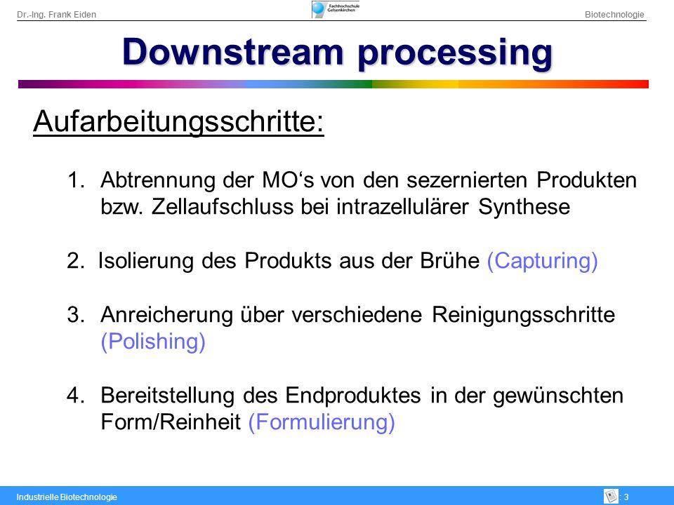 Dr.-Ing. Frank Eiden Biotechnologie Industrielle Biotechnologie: 3 Downstream processing Aufarbeitungsschritte: Abtrennung der MOs von den sezernierte