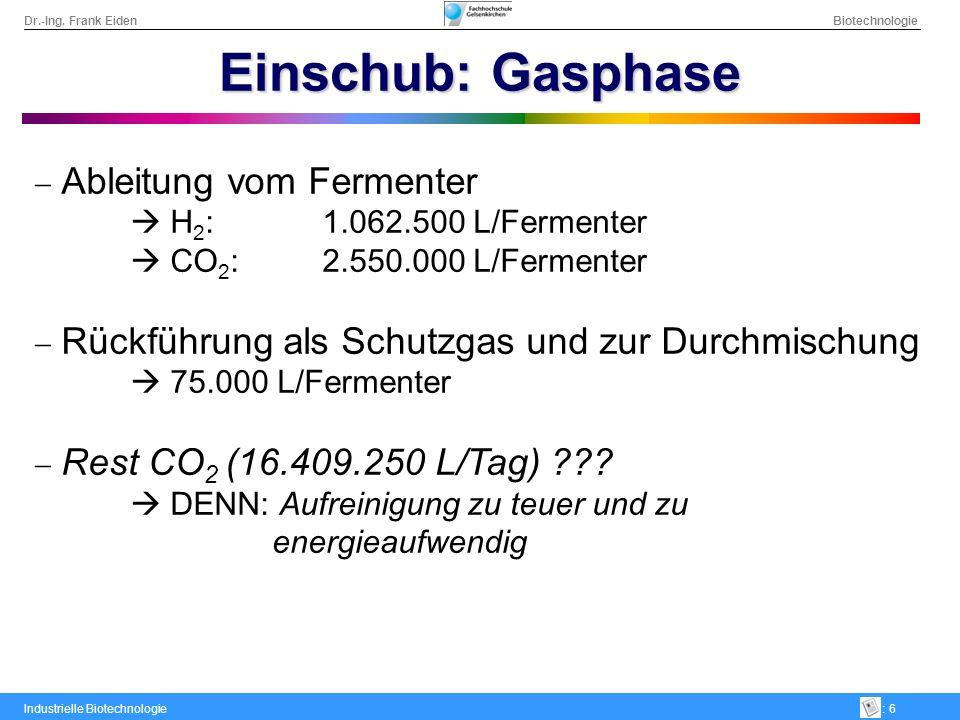 Dr.-Ing. Frank Eiden Biotechnologie Industrielle Biotechnologie: 6 Einschub: Gasphase Ableitung vom Fermenter H 2 :1.062.500 L/Fermenter CO 2 :2.550.0