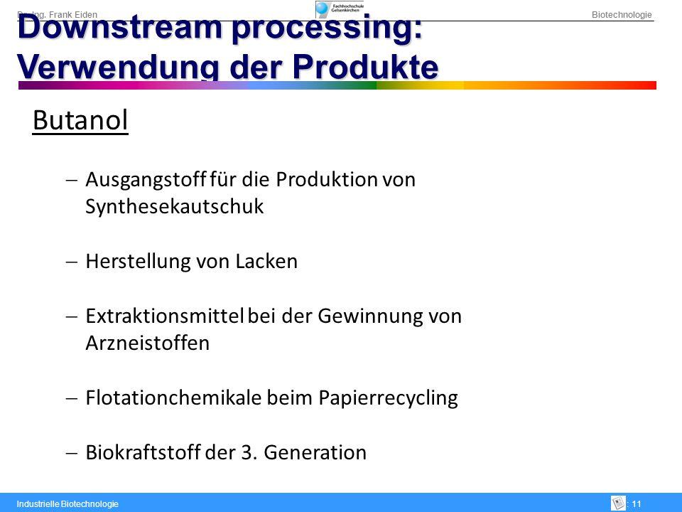 Dr.-Ing. Frank Eiden Biotechnologie Industrielle Biotechnologie: 11 Downstream processing: Verwendung der Produkte Butanol Ausgangstoff für die Produk