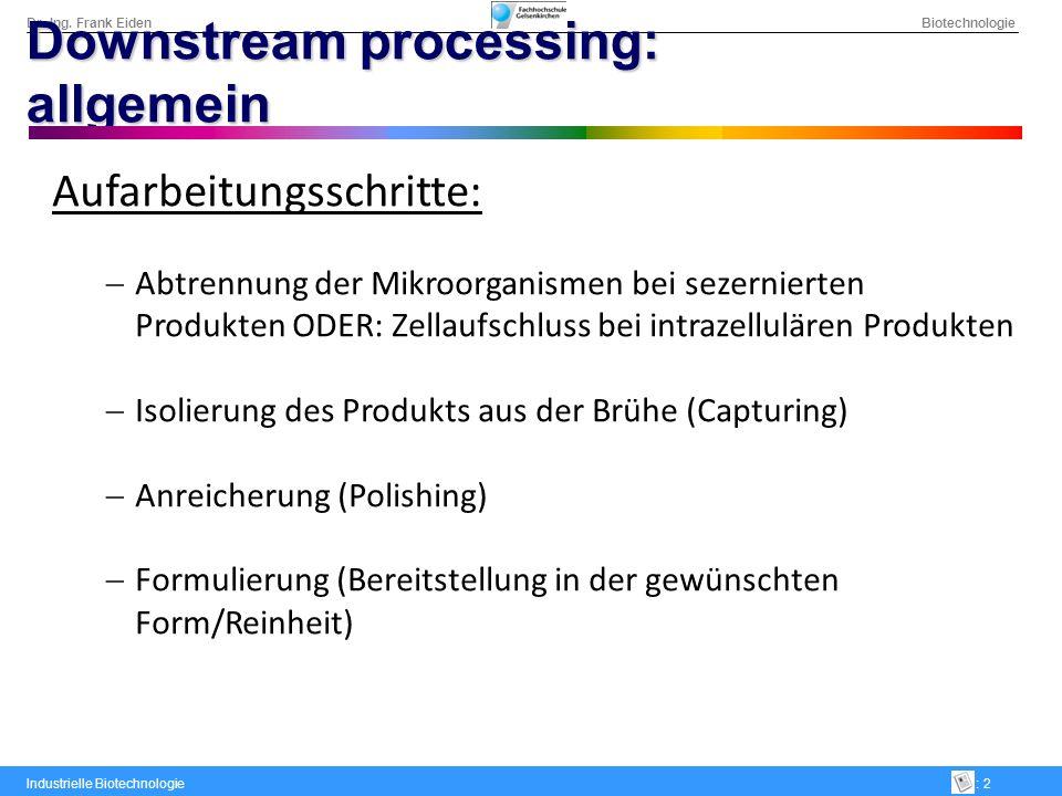 Dr.-Ing. Frank Eiden Biotechnologie Industrielle Biotechnologie: 2 Downstream processing: allgemein Aufarbeitungsschritte: Abtrennung der Mikroorganis
