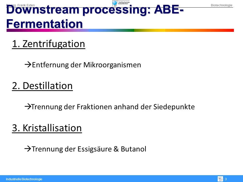 Dr.-Ing. Frank Eiden Biotechnologie Industrielle Biotechnologie: 3 Downstream processing: ABE- Fermentation 1. Zentrifugation Entfernung der Mikroorga