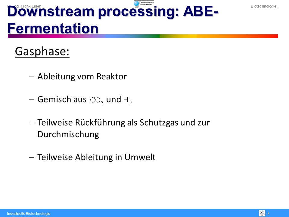 Dr.-Ing. Frank Eiden Biotechnologie Industrielle Biotechnologie: 4 Downstream processing: ABE- Fermentation Gasphase: Ableitung vom Reaktor Gemisch au