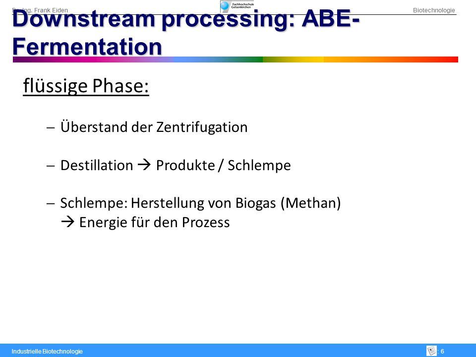 Dr.-Ing. Frank Eiden Biotechnologie Industrielle Biotechnologie: 6 Downstream processing: ABE- Fermentation flüssige Phase: Überstand der Zentrifugati