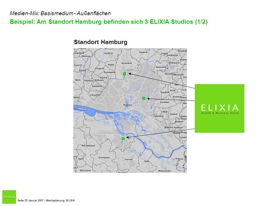 Beispiel: Am Standort Hamburg befinden sich 3 ELIXIA Studios (1/2) Seite 25 Januar 2007 | Mediaplanung: ELIXIA Standort Hamburg Medien-Mix: Basismediu