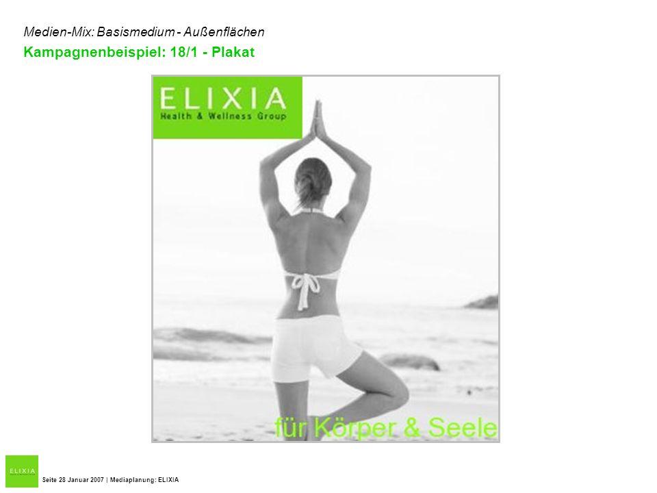 Seite 28 Januar 2007 | Mediaplanung: ELIXIA Medien-Mix: Basismedium - Außenflächen Kampagnenbeispiel: 18/1 - Plakat