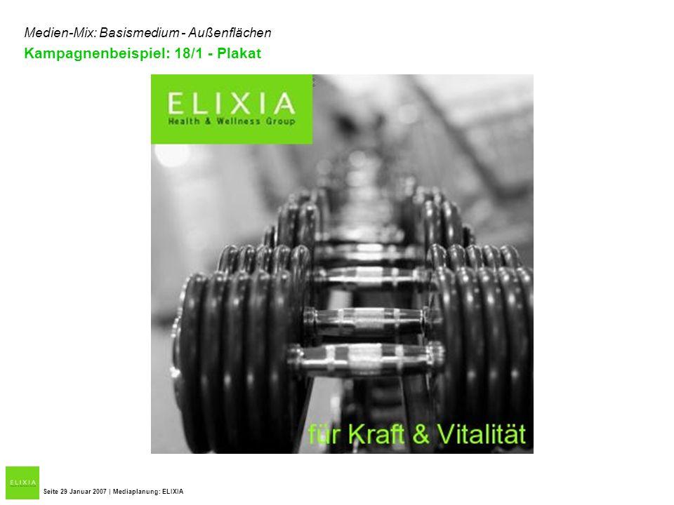 Seite 29 Januar 2007 | Mediaplanung: ELIXIA Medien-Mix: Basismedium - Außenflächen Kampagnenbeispiel: 18/1 - Plakat