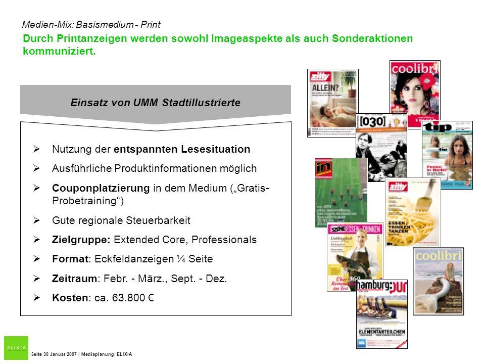 Durch Printanzeigen werden sowohl Imageaspekte als auch Sonderaktionen kommuniziert. Seite 30 Januar 2007 | Mediaplanung: ELIXIA Medien-Mix: Basismedi