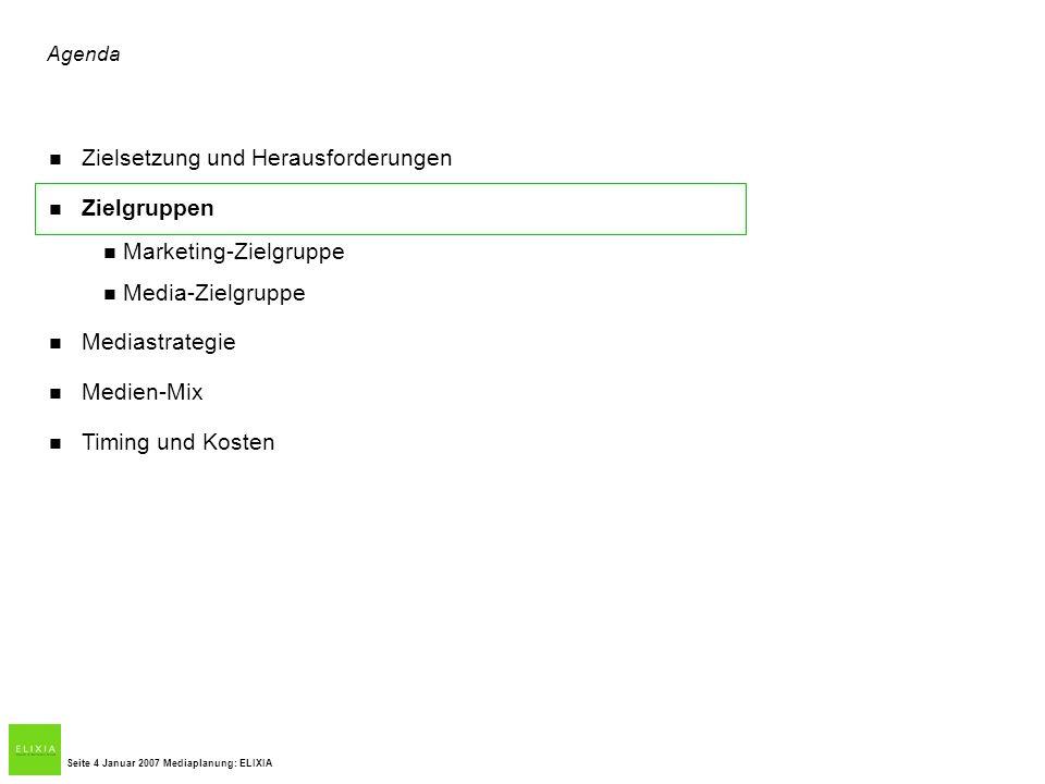 Agenda Zielsetzung und Herausforderungen Zielgruppen Marketing-Zielgruppe Media-Zielgruppe Mediastrategie Medien-Mix Timing und Kosten Seite 4 Januar