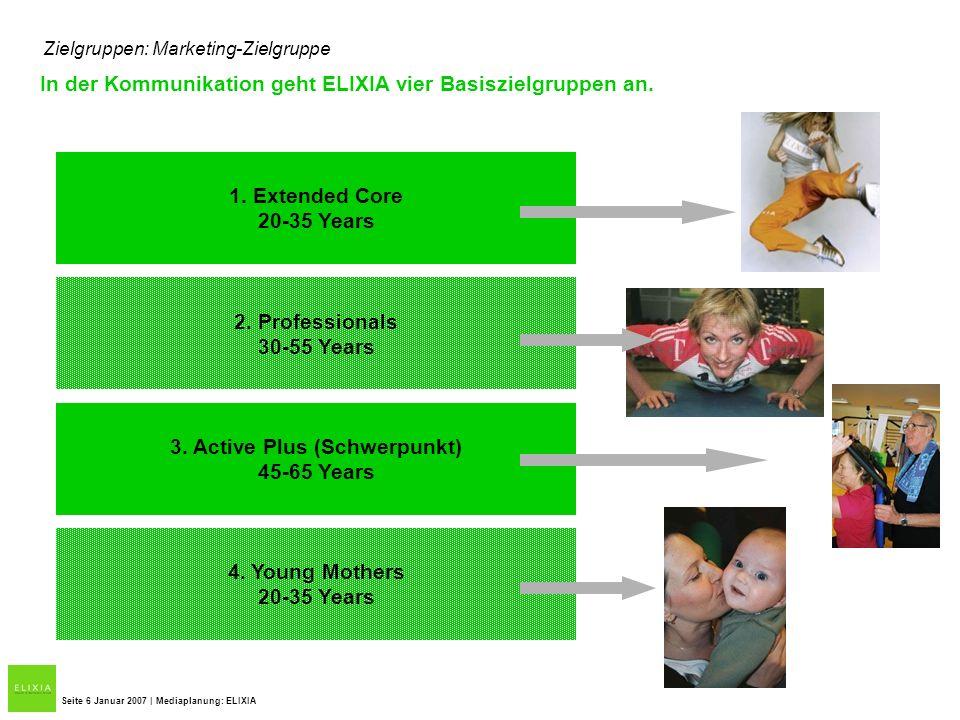 Zielgruppen: Marketing-Zielgruppe In der Kommunikation geht ELIXIA vier Basiszielgruppen an. Seite 6 Januar 2007 | Mediaplanung: ELIXIA 1. Extended Co
