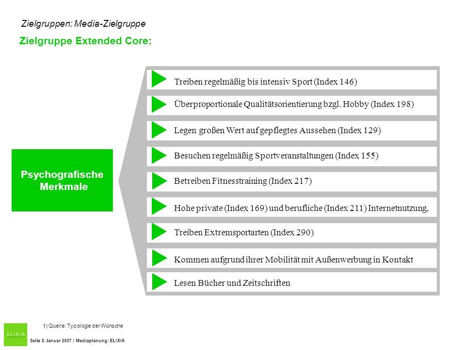 Zielgruppen: Media-Zielgruppe Zielgruppe Extended Core: Seite 8 Januar 2007 | Mediaplanung: ELIXIA Treiben regelmäßig bis intensiv Sport (Index 146) Ü