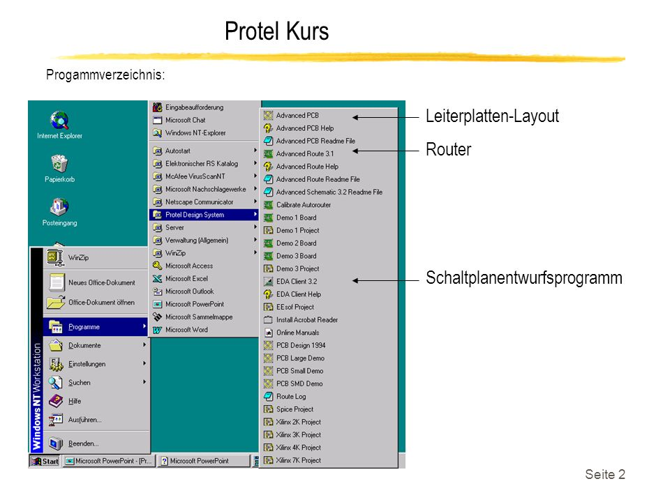Protel Kurs Seite 13 Erzeugen einer Netzliste: EDA/ Client 3.2 Eine Netzliste sollte erstellt werden, wenn ein Layout zum entsprechendem Schaltplan erstellt werden soll.