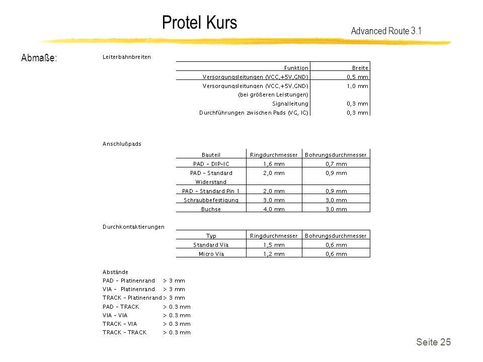 Protel Kurs Seite 25 Abmaße: Advanced Route 3.1